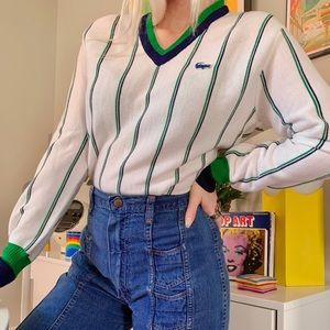 Vintage 70s izod Lacoste striped v neck sweater M
